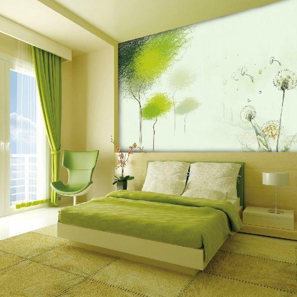 Kết quả hình ảnh cho phong ngủ gam màu xanh lá cây
